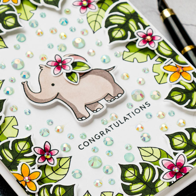 Jungle Cards with Pretty Pink Posh. Video tutorial by Yana Smakula #cardmaking #prettypinkposh #stamping #copiccoloring