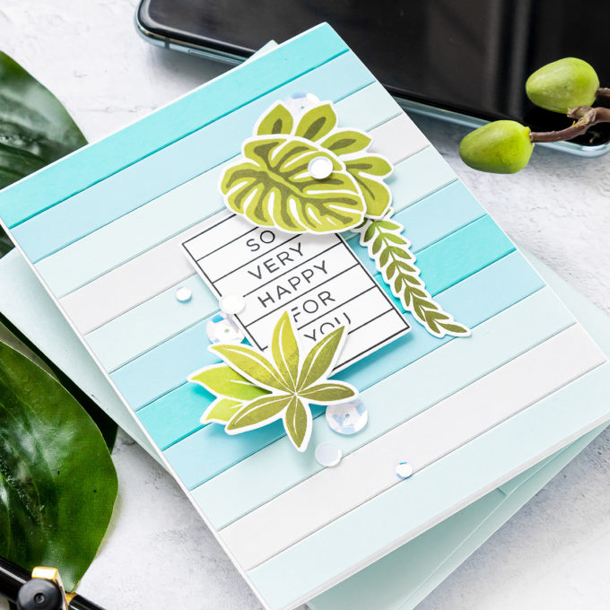 Simon Says Stamp | Tropical Stripes - Happy For You Card by Yana Smakula featuring CZ Design Stamps and Dies HAPPY DAYS set386hd and TROPICAL LEAVES SSS101620 #cardmaking #simonsaysstamp #copiccoloring #copicmarkers #handmadecard #SSSSendHappiness #SSSendACard #SSSUnitedWeCraft