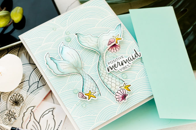 Simon Says Stamp | Positive Mermaid Vibes handmade card by Yana Smakula. Video tutorial #cardmaking #simonsaysstamp #ssssendacard #sssunitedwestand #SSSSendHappiness