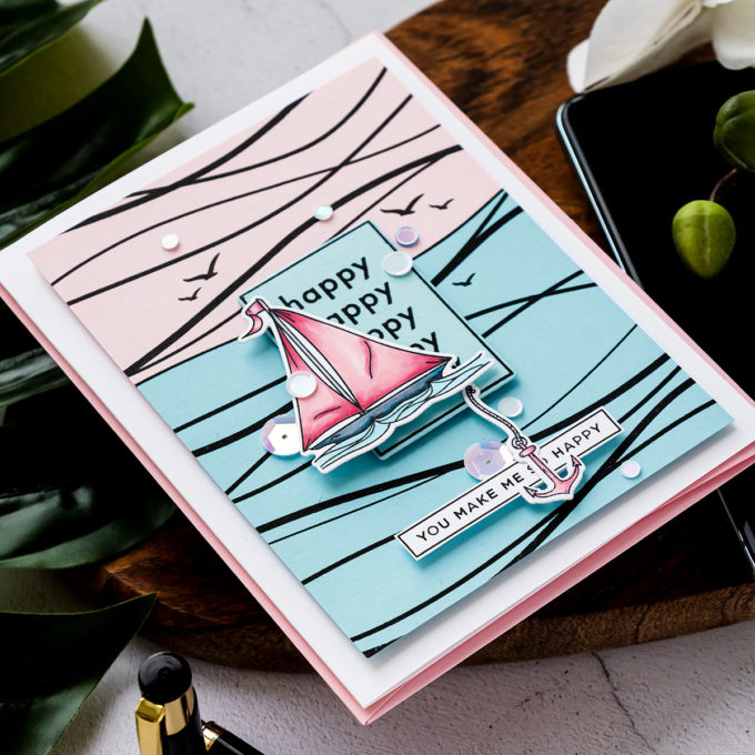 Simon Says Stamp | Abstract Sailboat Card featuring WAVES sss101982, YOUR LIGHT sss101999 and CZ Design HAPPY DAYS czs54 stamp sets #SimonSaysStamp #Cardmaking #Stamping #HandmadaCard