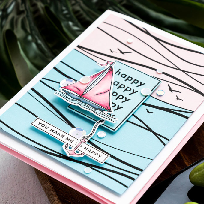 Simon Says Stamp   Abstract Sailboat Card featuring WAVES sss101982, YOUR LIGHT sss101999 and CZ Design HAPPY DAYS czs54 stamp sets #SimonSaysStamp #Cardmaking #Stamping #HandmadaCard