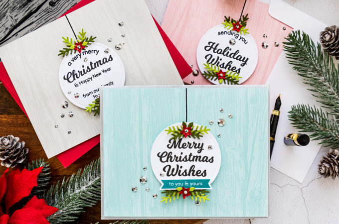 STAMPtember is HERE! | Circle Sentiments Christmas Cards by Yana Smakula for Simon Says Stamp featuring CIRCLE SENTIMENTS CHRISTMAS sss302198 and WOOD PLANKS sss102160 #simonsaysstamp #STAMPtember #cardmaking