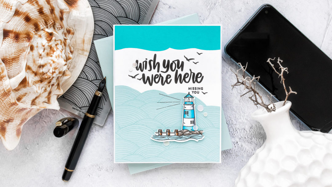 Simon Says Stamp | Wish You Were Here Card - Inspired by Book Cover featuring YOUR LIGHT sss101999, OUT TO SEA sss102127 and VACATION TIME sss101855 #SimonSaysStamp #Cardmaking #handmadecard #copiccoloring #stamping