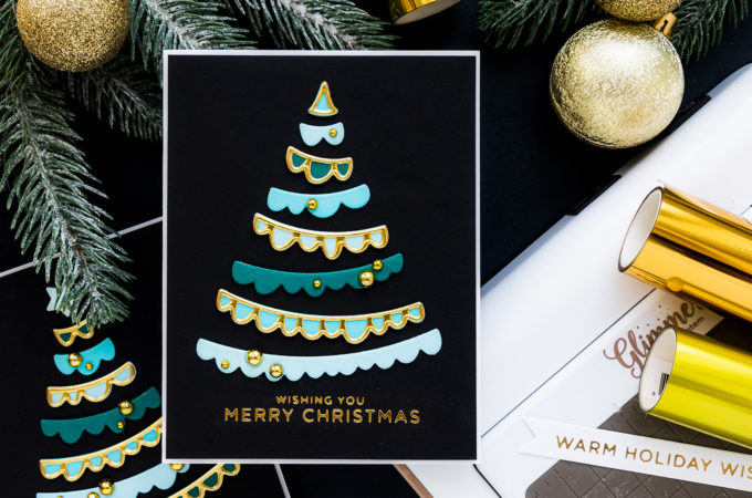 Spellbinders | It's a Christmas Season - Joyful Christmas Tree Cards by Yana Smakula featuring S3-399 Die D-Lites Joyful Christmas Tree Etched Dies from Sparking Christmas Collection #Spellbinders #NeverStopMaking #Cardmaking #Christmascardmaking