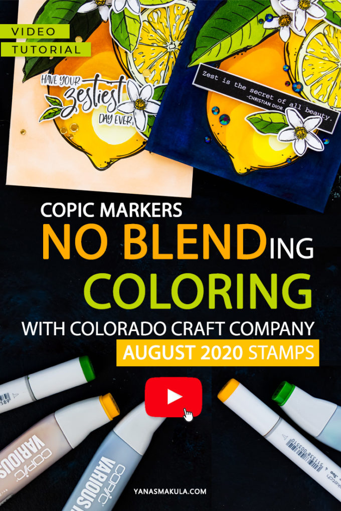 Colorado Craft Company | Coloring Lemons with the No Blending Method by Yana Smakula #cardmaking #copiccoloring #coloradocraftcompany #handmadecard