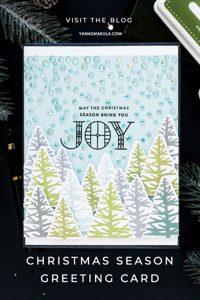 Simon Says Stamp | Jewels To Create Falling Snow - Christmas Season Card by Yana Smakula featuring STAINED GLASS GREETINGS SSS101768 and COOLEST YULEST CZ11 #cardmaking #simonsaysstamp #christmascard #handmadecard