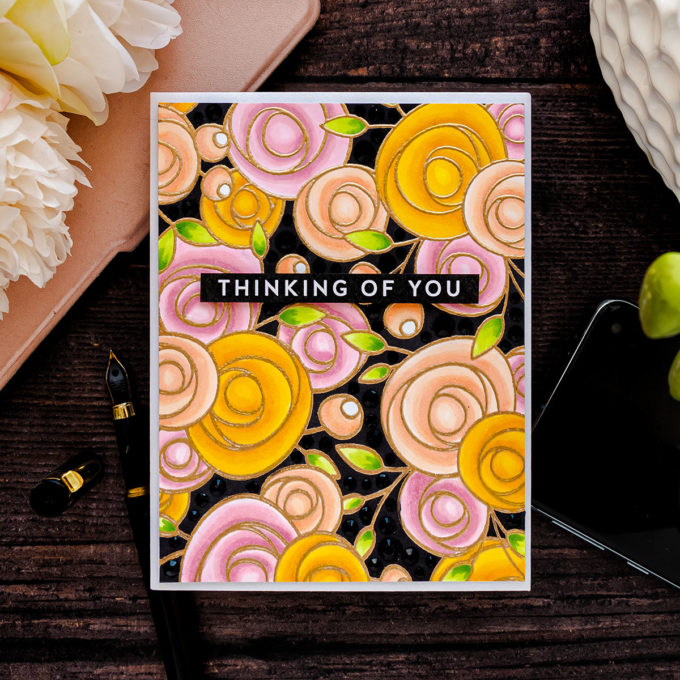 Simon Says Stamp | Floral on Black with Copics + Jewels featuring Simon Says Cling Stamp SPRING FLOWERS BACKGROUND sss102108 #cardmaking #simonsaysstamp #SSSendACard #SSSUnitedWeCraft