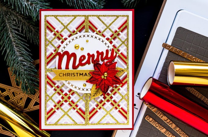 Spellbinders | It's a Christmas Season – All About Plaid! Merry Christmas card by Yana Smakula featuring S4-1063 Kaleidoscope Plaid dies #Spellbinders #Cardmaking #NeverStopMaking #ChristmasCard #DieCutting #GlimmerHotFoilSystem