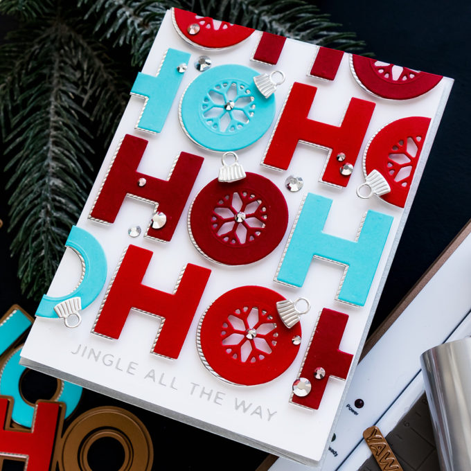 Spellbinders | It's a Christmas Season – Christmas Ho Ho Ho Card by Yana Smakula featuring S3-402 Die D-Lites Jolly Ho Ho Ho Etched Dies from Sparking Christmas Collection #Spellbinders #Christmas #cardmaking #christmascardmaking