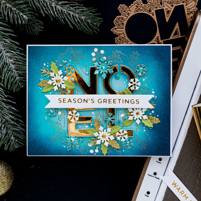 Foiled Christmas Greetings Card - Noel Season's Greetings Card by Yana Smakula featuring S4-1062 Festive Noel Etched Dies from Sparking Christmas Collection #cardmaking #Spellbinders #chritmascard