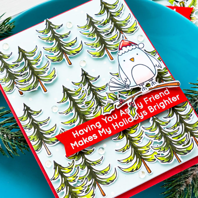 Handmade Christmas Cardinals Greeting Cards with MFT Stamps - Video Tutorial by Yana Smakula #mftstamps #cardmaking #christmascard