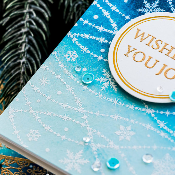 STAMPtember   Ink Blended Snowy Night Cards with Gina K NOWFLAKE CASCADE Stamptember 2020 Exclusive Clear Stamps #simonsaysstamp #STAMPtember