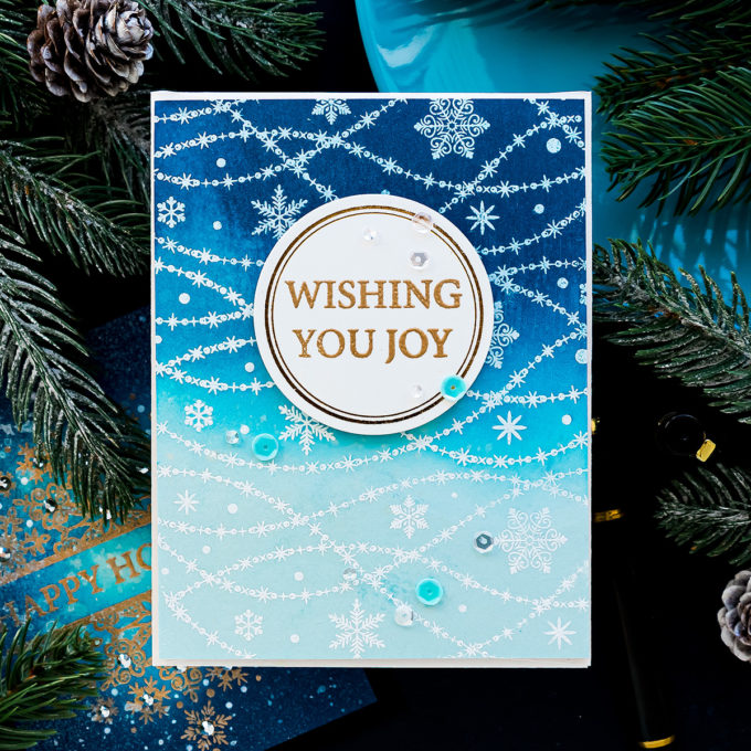 STAMPtember | Ink Blended Snowy Night Cards with Gina K NOWFLAKE CASCADE Stamptember 2020 Exclusive Clear Stamps #simonsaysstamp #STAMPtember