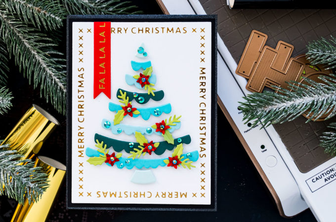 Spellbinders | Handmade Merry Christmas Card by Yana Smakula featuring die cutting and foiling with GLP-183 Christmas Essential Glimmer Rectangles, S3-399 Die D-Lites Joyful Christmas Tree #Spellbinders #NeverStopMaking #Cardmaking #ChristmasCard
