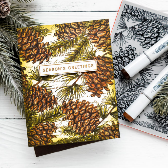 Simon Says Stamp | One Layer Layered Season's Greetings Christmas Card by Yana Smakula featuring PINECONE BACKGROUND sss102094 and OLD LETTER sss102159