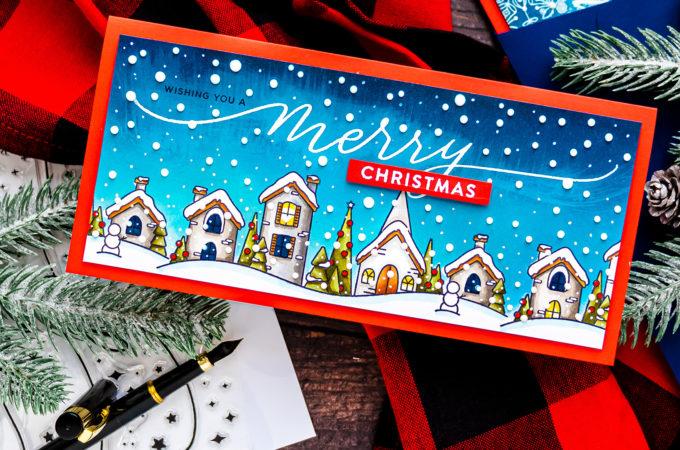 Simon Says Stamp | Slimline Christmas Village Greeting Card