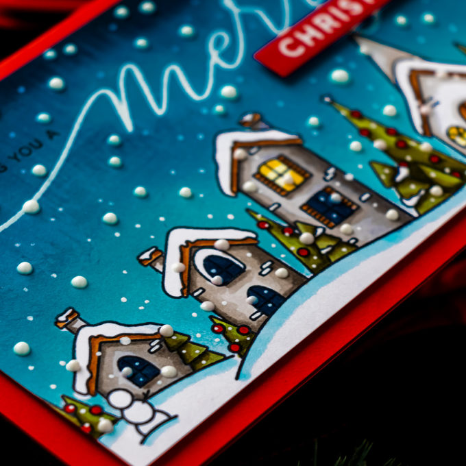 Simon Says Stamp | Slimline Christmas Village Greeting Card
