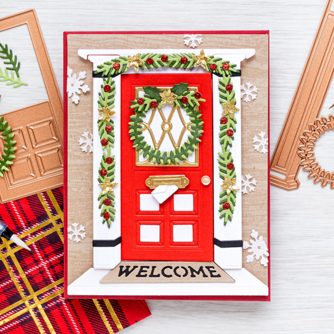 Spellbinders | Christmas Door Greeting Card with October 2020 Large Die of the Month. Video tutorial by Yana Smakula #Spellbinders #NeverStopMaking #SpellbindersClubKits #DieCutting