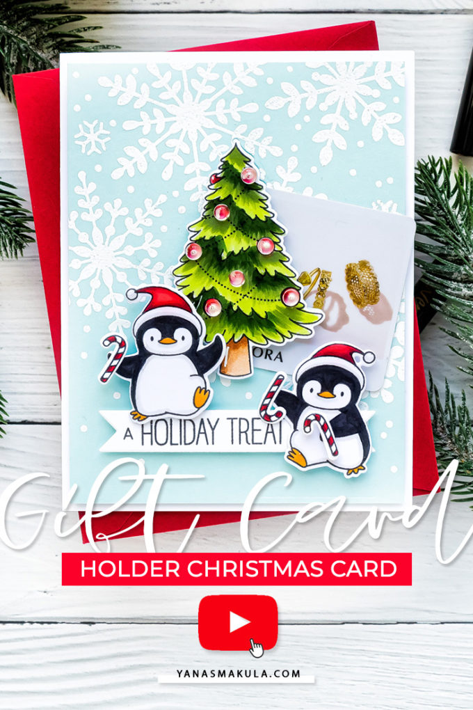 Create an adorable Gift Card Holder Christmas Card with MFT Stamps. Watch video tutorial for the how-to!