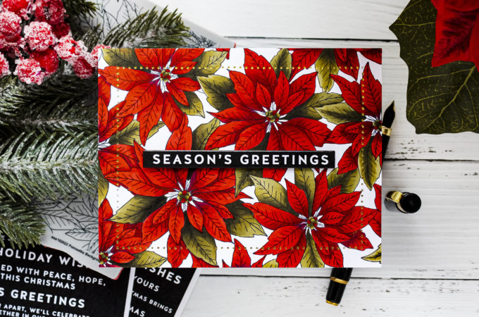 Simon Says Stamp | A Coloring Experiment - Vivid Poinsettias Christmas Greeting Card