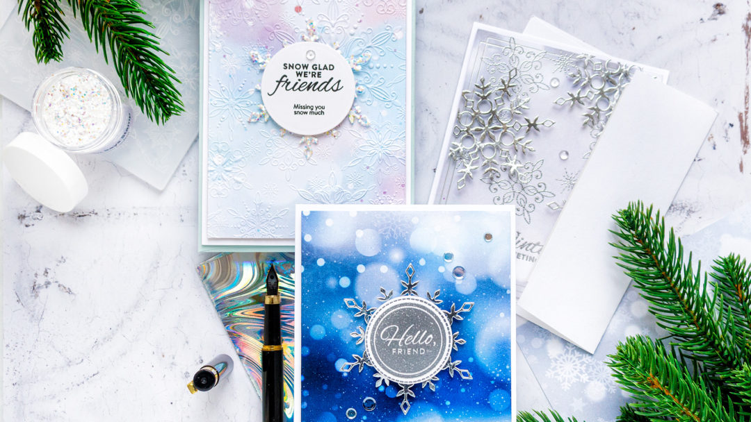Create stunning winter snowflake cards with Simon Says Stamp January 2021 Card Kit!