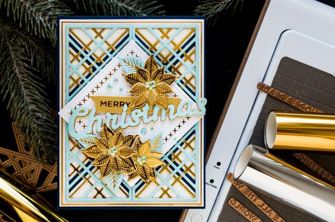 Spellbinders | It's Christmas Season - Blue & Gold Merry Christmas Card by Yana Smakula