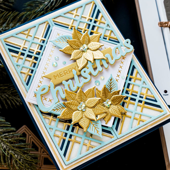 Spellbinders | It's Christmas Season - Blue & Gold Merry Christmas Card by Yana Smakula