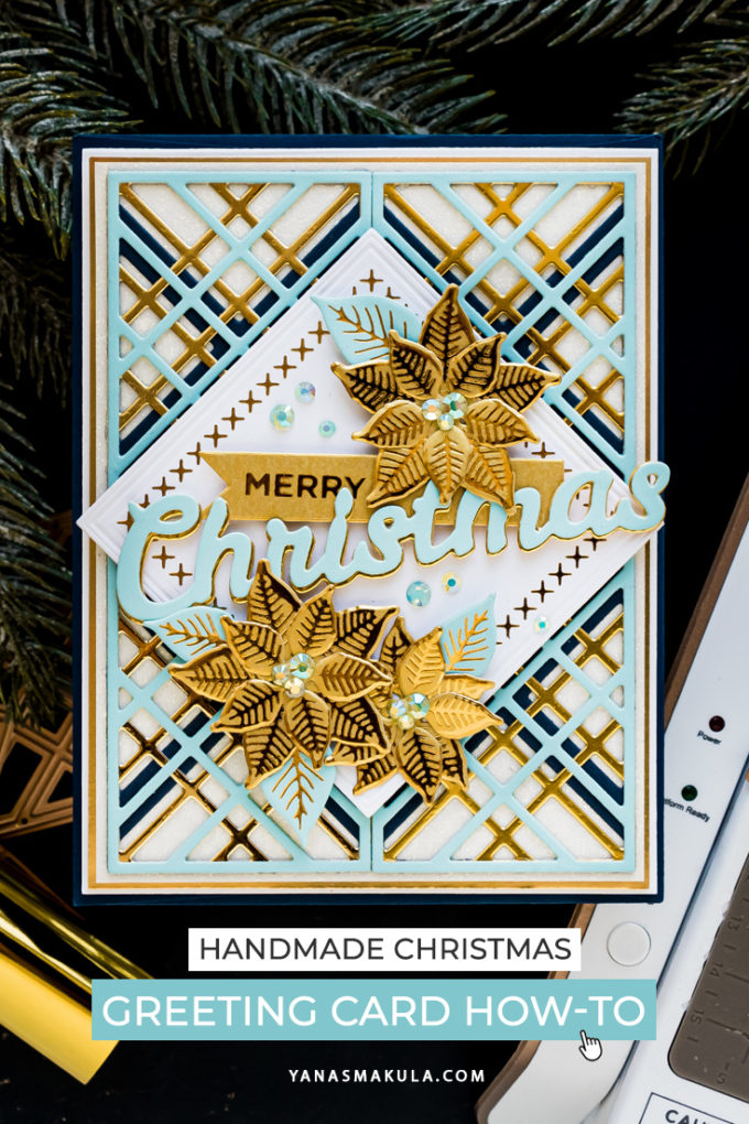 Spellbinders | It's Christmas Season - Blue & Gold Merry Christmas Card by Yana Smakula #Spellbinders #Cardmaking #ChristmasCard #DieCutting