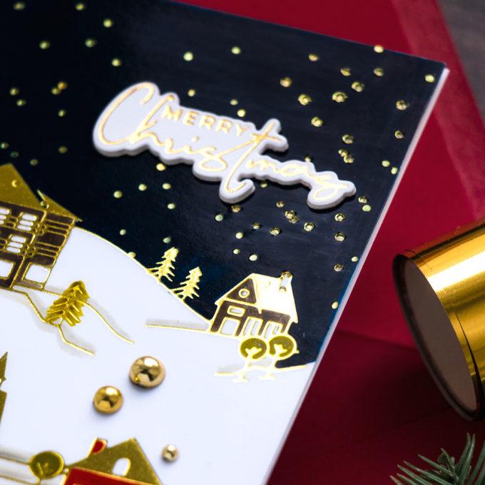 Spellbinders | Foiled Christmas Village Greeting Card by Yana Smakula #Spellbinders #GlimmerHotFloilSystem #Cardmaking