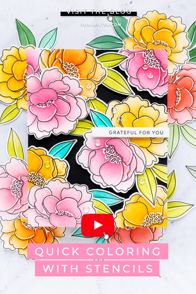 Pretty Pink Posh | Ink & Stencil Coloring Technique - Floral Greeting Card | Video tutorial by Yana Smakula #prettypinkposh #cardmaking