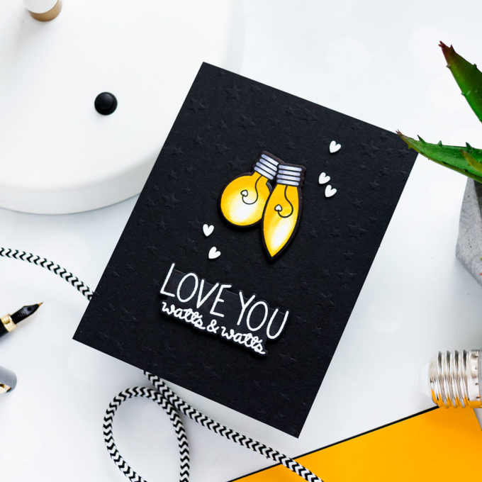 LOVE YOU WATTS & WATTS CARD. Pun Intended Handmade Greeting Cards - Light Puns. Video tutorial by Yana Smakula featuring LIGHT ME UP cz263c