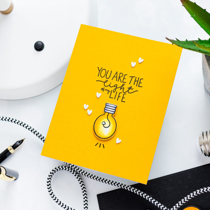 YOU ARE THE LIGHT OF MY LIFE CARD. Pun Intended Handmade Greeting Cards - Light Puns. Video tutorial by Yana Smakula featuring LIGHT ME UP cz263c