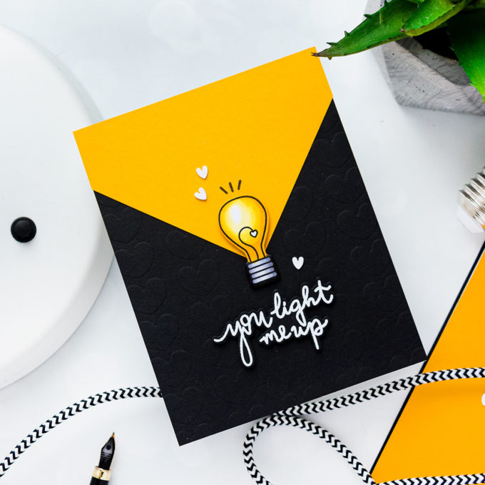 YOU LIGHT ME UP CARD. Pun Intended Handmade Greeting Cards - Light Puns. Video tutorial by Yana Smakula featuring LIGHT ME UP cz263c