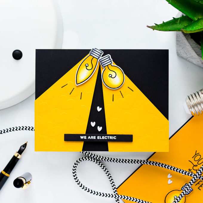 WE ARE ELECTRIC CARD. Pun Intended Handmade Greeting Cards - Light Puns. Video tutorial by Yana Smakula featuring LIGHT ME UP cz263c