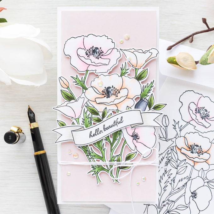 MFT Stamps | Pink & Peach Wild Poppies Card by Yana Smakula