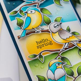 Simon Says Stamp | Hello Beautiful Release - Spring Birds Mini Slimline Card by Yana Smakula #cardmaking #stamping #simonsaysstamp