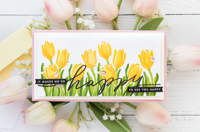 Simon Says Stamp | Layered Spring Tulips featuring LAYERED TULIPS sss202121. Handmade card by Yana Smakula #simonsaysstamp #cardmaking #sssendacard