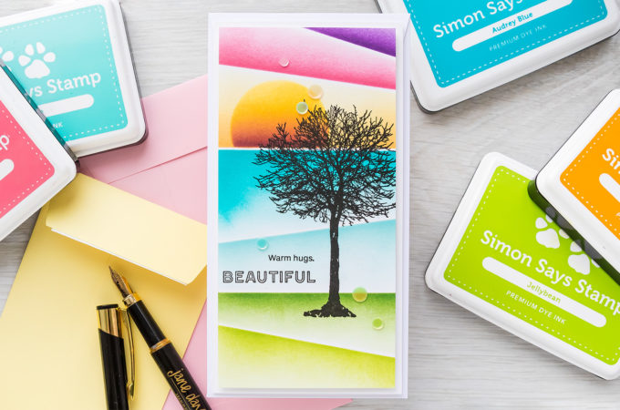 Simon Says Stamp | Angled Ink Blending | Video tutorial featuring ALL SEASONS TREE sss302265, SLIMLINE SCENE BUILDER ssst121496, A2 MASKS ssst121492 #simonsaysstamp #cardmaking #inkblending