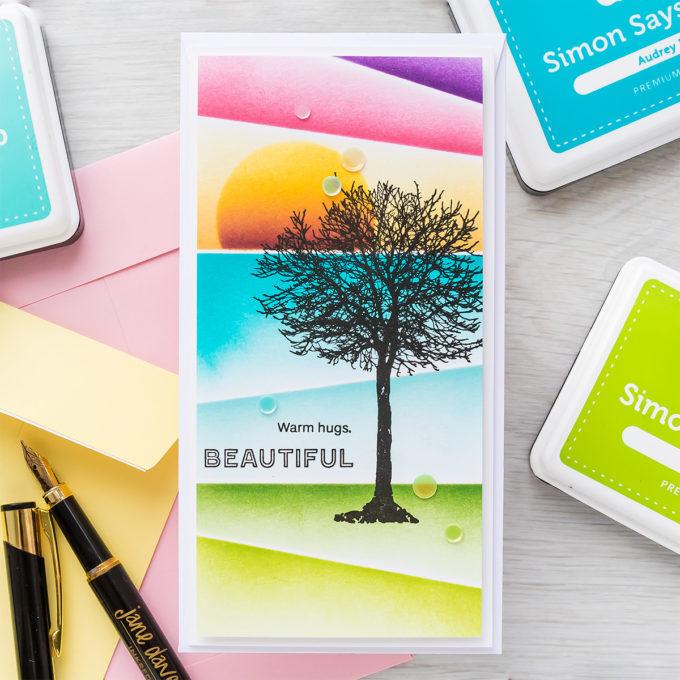 Simon Says Stamp | Angled Ink Blending | Video tutorial featuring ALL SEASONS TREE sss302265, SLIMLINE SCENE BUILDER ssst121496, A2 MASKS ssst121492 #simonsaysstamp #cardmaking #inkblending