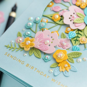 Gatefold Birthday Card with Die Cut Florals and Foiling | Video