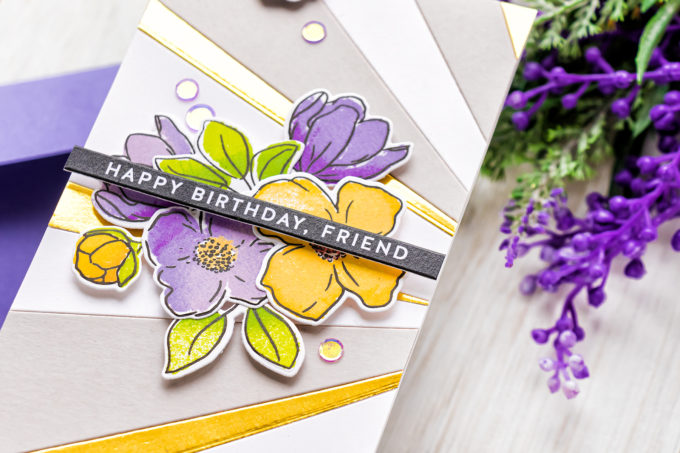 Simon Says Stamp | Mini Slimline Birthday in Yellow and Purple