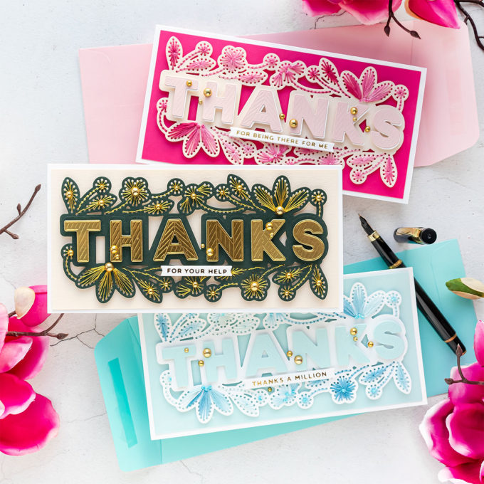 Stitched Thanks Cards 2 Ways | Video Tutorial - Spellbinders April 2021 Small Die of the Month