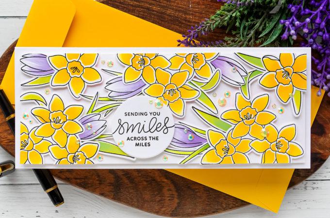 Pretty Pink Posh | Spring Daffodils Slimline Card | Video