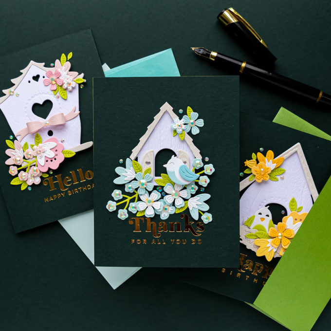 Modern Birdhouses Cards with Vicky P. Birdhouses Through the Seasons Collection | Video