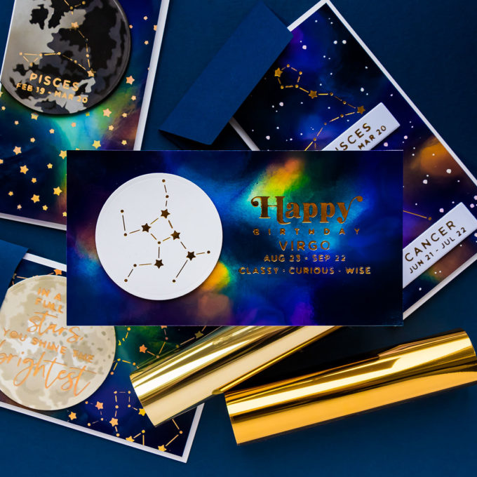 Hot Foiled Zodiac Galaxy Cards with Spellbinders | Video Tutorial