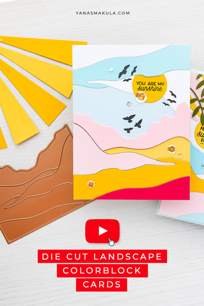 Spellbinders | Landscape ColorBlock Cards with June'21 Small Die of the Month | Video