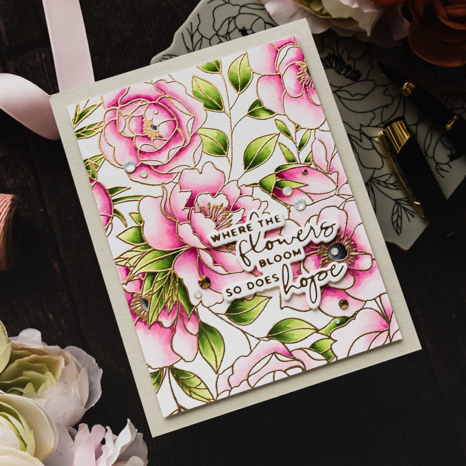 Simon Says Stamp | Copic Kissing Technique - Delicate Outline Flowers Card. Video