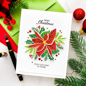 It's STAMPtember! Happy Poinsettia CAS Christmas Card