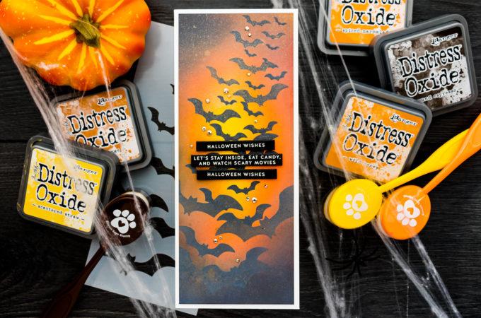 It's STAMPtember! Layered Bats Halloween Card