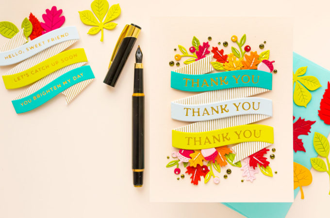 Spellbinders | Glimmering Build a Banner - Fall Thank You Card with September'21 Glimmer of the Month | Video
